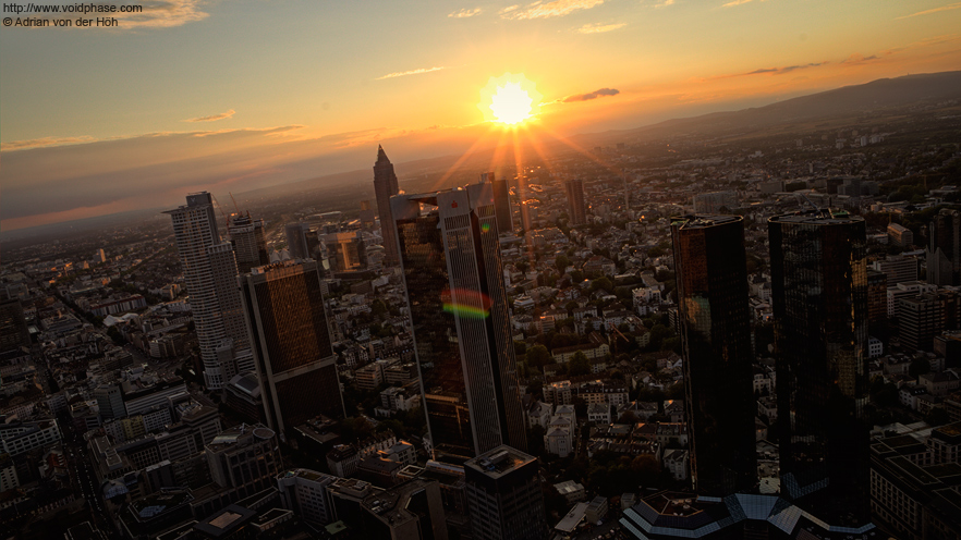 Frankfurt am Main Skyline at sundown (HDR)